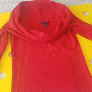 INC red knit cowl neck top (304)